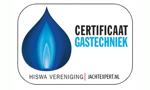 Certificaat Gastechniek Hiswa voor Jachtexpert.nl